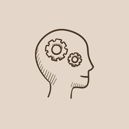 Human head with gear sketch icon for web, mobile and infographics. Hand drawn vector isolated icon.