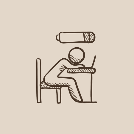 power failure: Tired employee sleeping on workplace on laptop keyboard with low power battery sign over his head sketch icon for web, mobile and infographics. Hand drawn vector isolated icon. Illustration