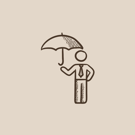 sheltering: Businessman with umbrella sketch icon for web, mobile and infographics. Hand drawn vector isolated icon.