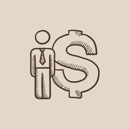 fullbody: Businessman standing beside the dollar symbol sketch icon for web, mobile and infographics. Hand drawn vector isolated icon.