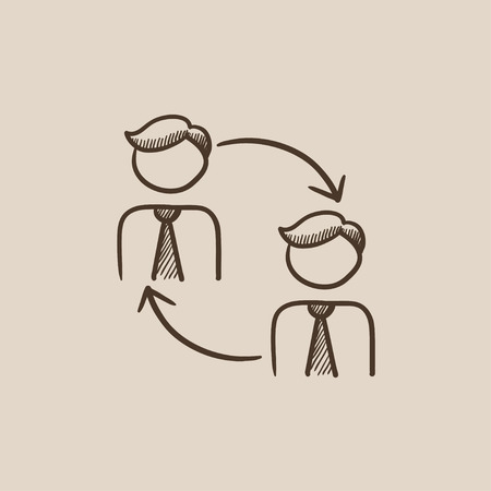 turnover: Staff turnover sketch icon for web, mobile and infographics. Hand drawn vector isolated icon.
