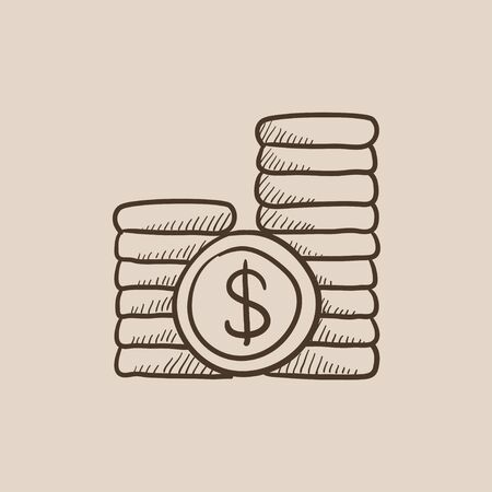 dime: Dollar coins sketch icon for web, mobile and infographics. Hand drawn vector isolated icon.