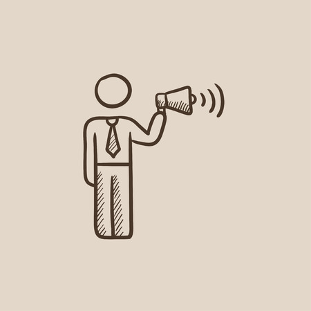 noisiness: Businessman with megaphone sketch icon for web, mobile and infographics. Hand drawn vector isolated icon.
