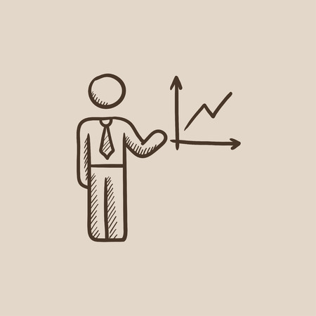 report icon: A man presenting his report through infographic sketch icon for web, mobile and infographics. Hand drawn vector isolated icon. Illustration