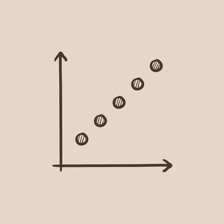 discontinuous: Growth graph sketch icon for web, mobile and infographics. Hand drawn vector isolated icon.