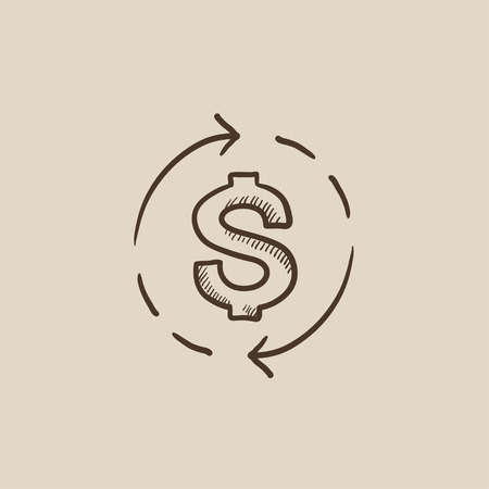 refresh rate: Dollar symbol with arrows around sketch icon for web, mobile and infographics. Hand drawn vector isolated icon.