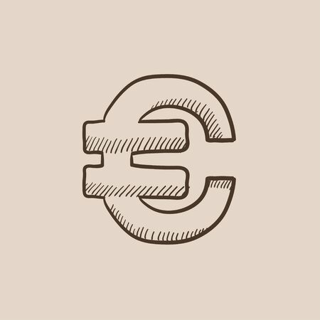price gain: Euro symbol sketch icon for web, mobile and infographics. Hand drawn vector isolated icon.