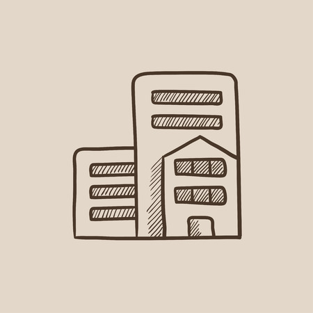 cemented: Residential buildings sketch icon for web, mobile and infographics. Hand drawn vector isolated icon.