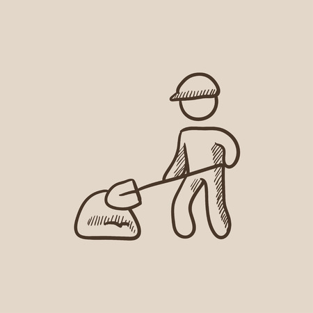 Man with shovel and hill of sand sketch icon for web, mobile and infographics. Hand drawn vector isolated icon.