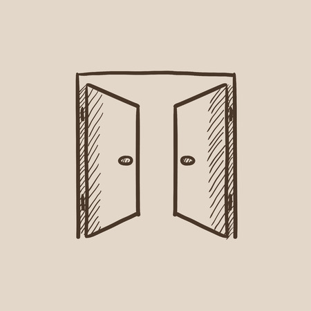 double entry: Open doors sketch icon for web, mobile and infographics. Hand drawn vector isolated icon.