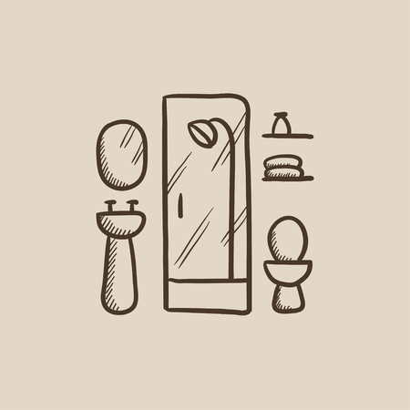 Bathroom sketch icon for web, mobile and infographics. Hand drawn vector isolated icon.