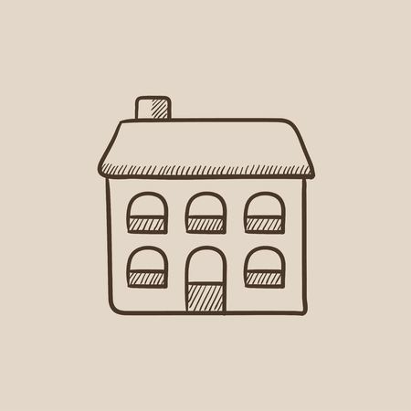 detached: Two storey detached house sketch icon for web, mobile and infographics. Hand drawn vector isolated icon.