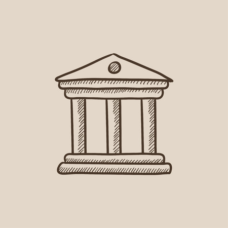Museum sketch icon for web, mobile and infographics. Hand drawn vector isolated icon.