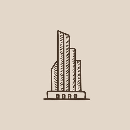 building sketch: Skyscraper office building sketch icon for web, mobile and infographics. Hand drawn vector isolated icon.