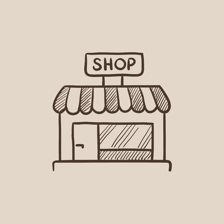 Shop store sketch icon for web, mobile and infographics. Hand drawn vector isolated icon. Illustration