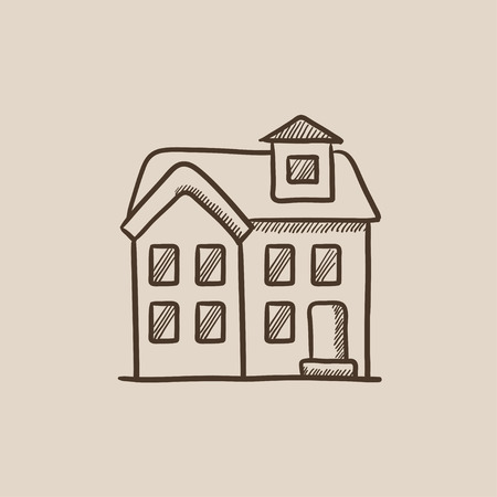 two storey: Two storey detached house sketch icon for web, mobile and infographics. Hand drawn vector isolated icon.