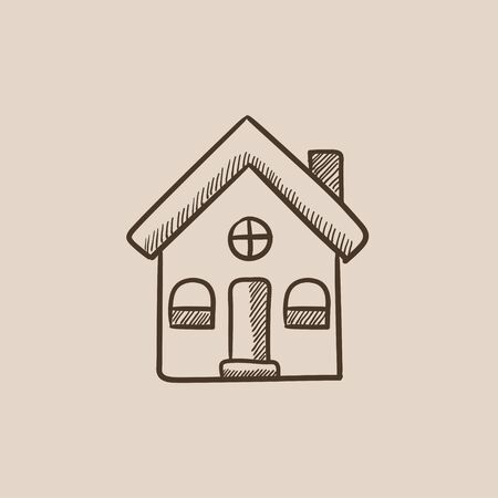Detached house sketch icon for web, mobile and infographics. Hand drawn vector isolated icon.