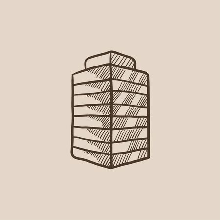 multi storey: Office building sketch icon for web, mobile and infographics. Hand drawn vector isolated icon. Illustration