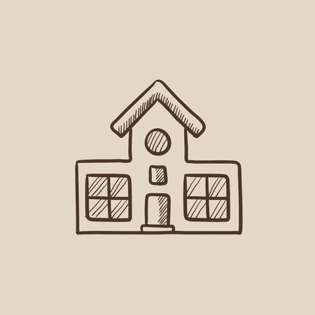 Building sketch icon for web, mobile and infographics. Hand drawn vector isolated icon.