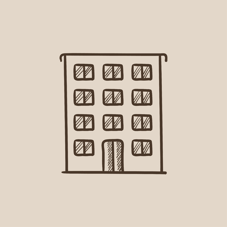 cemented: Residential building sketch icon for web, mobile and infographics. Hand drawn vector isolated icon.