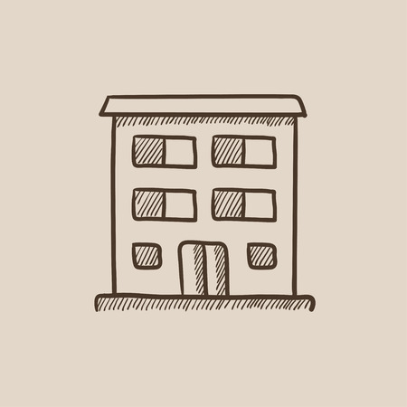 Residential building sketch icon for web, mobile and infographics. Hand drawn vector isolated icon.