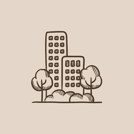 Residential building with trees sketch icon for web, mobile and infographics. Hand drawn vector isolated icon. Illustration