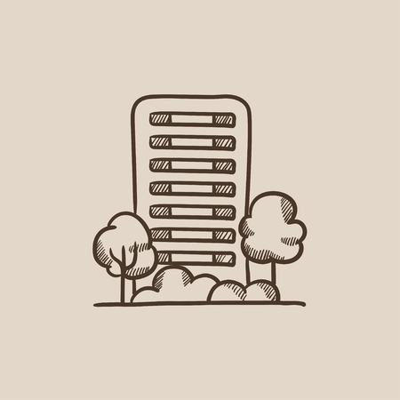 multi storey: Residential building with trees sketch icon for web, mobile and infographics. Hand drawn vector isolated icon. Illustration