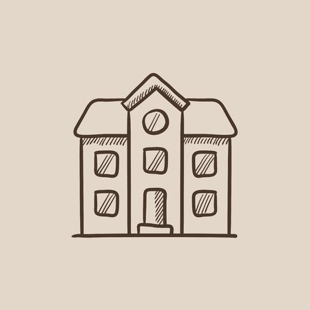 detached house: Two storey detached house sketch icon for web, mobile and infographics. Hand drawn vector isolated icon.