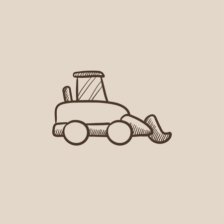 dig up: Excavator sketch icon for web, mobile and infographics. Hand drawn vector isolated icon.