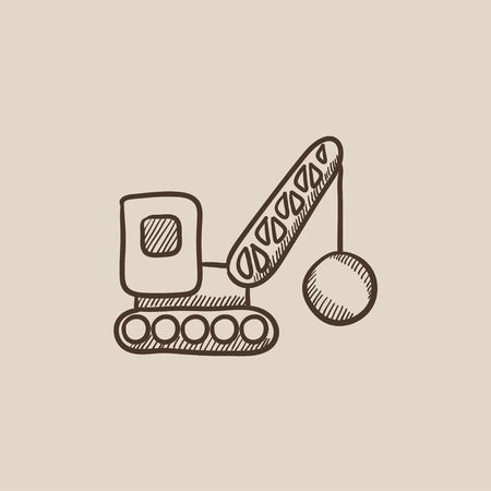 Demolition trailer sketch icon for web, mobile and infographics. Hand drawn vector isolated icon.