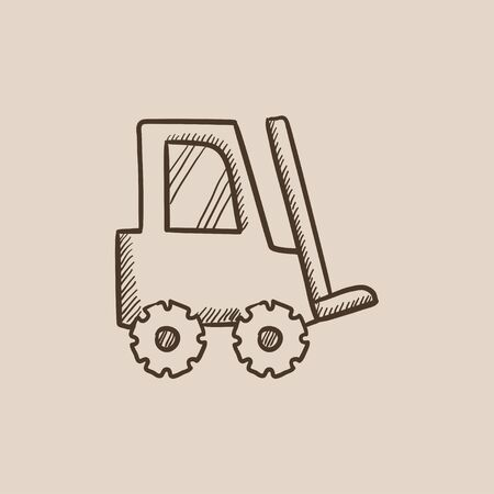 fork lifts trucks: Forklift sketch icon for web, mobile and infographics. Hand drawn vector isolated icon.