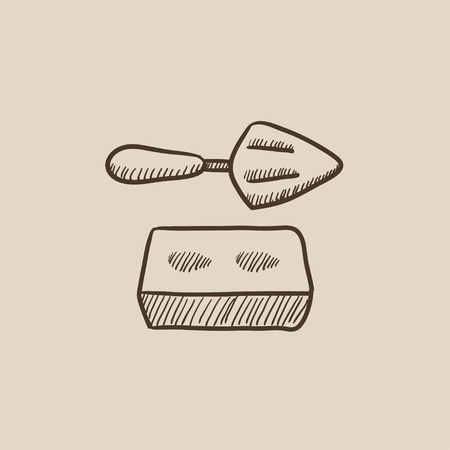 Spatula with brick sketch icon for web, mobile and infographics. Hand drawn vector isolated icon.