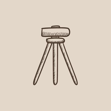 teodolito: Teodolito en el trípode dibujo icono para web, móvil y la infografía. aislado vector dibujado a mano icono.