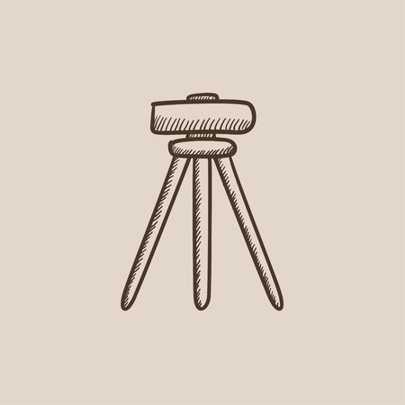 levelling: Theodolite on tripod sketch icon for web, mobile and infographics. Hand drawn vector isolated icon. Illustration