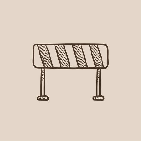 road barrier: Road barrier sketch icon for web, mobile and infographics. Hand drawn vector isolated icon.