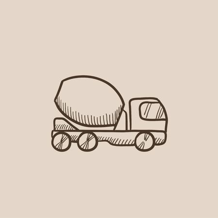 hand truck: Concrete mixer truck sketch icon for web, mobile and infographics. Hand drawn vector isolated icon.