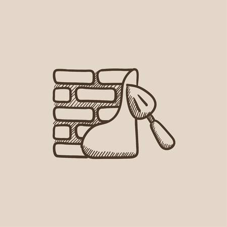 row houses: Spatula with brickwall sketch icon for web, mobile and infographics. Hand drawn vector isolated icon.