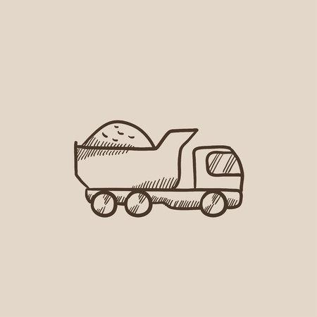 hauler: Dump truck sketch icon for web, mobile and infographics. Hand drawn vector isolated icon.