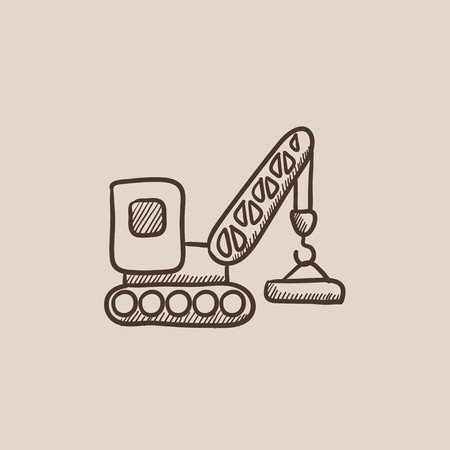 auto hoist: Lifting crane sketch icon for web, mobile and infographics. Hand drawn vector isolated icon.