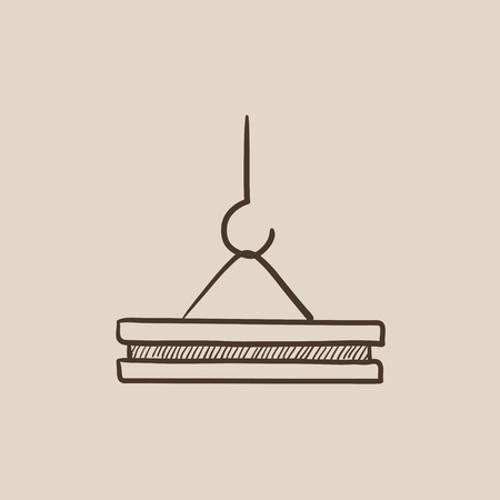 slab: Crane hook holding concrete slab sketch icon for web, mobile and infographics. Hand drawn vector isolated icon.
