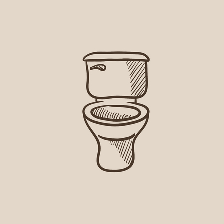 sanitaryware: Lavatory bowl sketch icon for web, mobile and infographics. Hand drawn vector isolated icon.