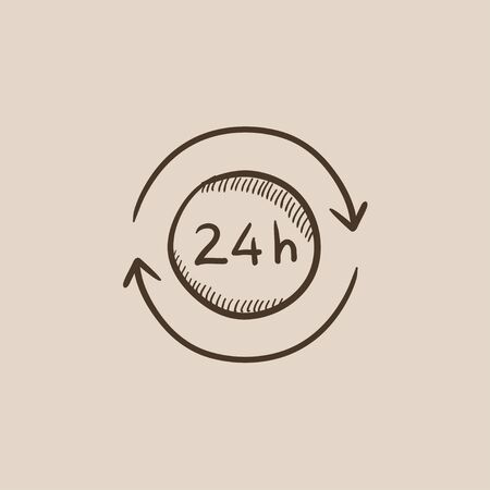 hrs: Service 24 hrs sketch icon for web, mobile and infographics. Hand drawn vector isolated icon. Illustration