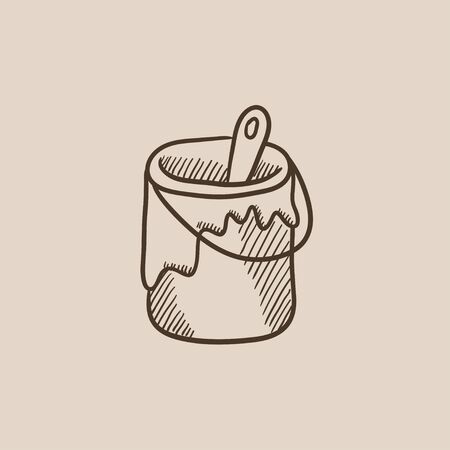 paint tin: Paint brush in the paint tin sketch icon for web, mobile and infographics. Hand drawn vector isolated icon.