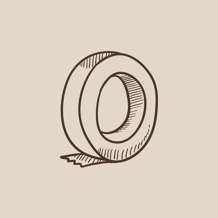 Roll of adhesive tape sketch icon for web, mobile and infographics. Hand drawn vector isolated icon.