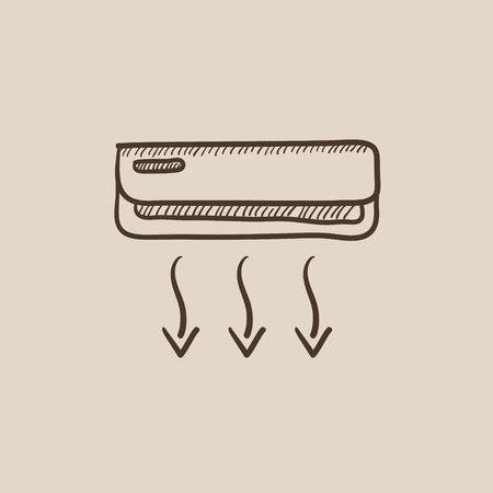 Air conditioner sketch icon for web, mobile and infographics. Hand drawn vector isolated icon. Stock Illustratie