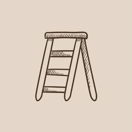 Stepladder sketch icon for web, mobile and infographics. Hand drawn vector isolated icon. 向量圖像