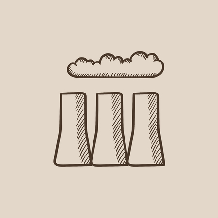 toxic cloud: Factory pipes sketch icon for web, mobile and infographics. Hand drawn vector isolated icon.