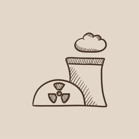 Nuclear power plant sketch icon for web, mobile and infographics. Hand drawn vector isolated icon. Illustration