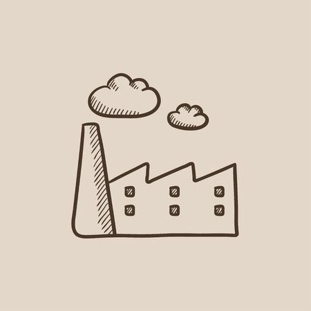 distill: Factory sketch icon for web, mobile and infographics. Hand drawn vector isolated icon.