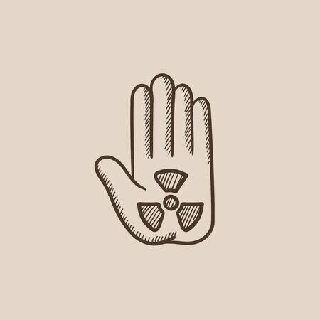ionizing: Ionizing radiation sign on a palm sketch icon for web, mobile and infographics. Hand drawn vector isolated icon.